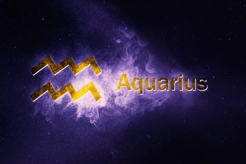 Segno di horoscope del Aquarius Fondo astratto del cielo notturno illustrazione vettoriale