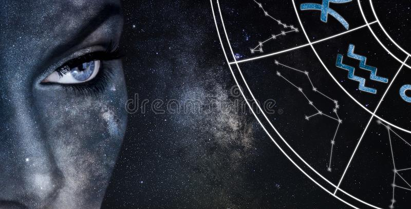 Segno di horoscope del Aquarius Fondo del cielo notturno delle donne di astrologia immagini stock libere da diritti