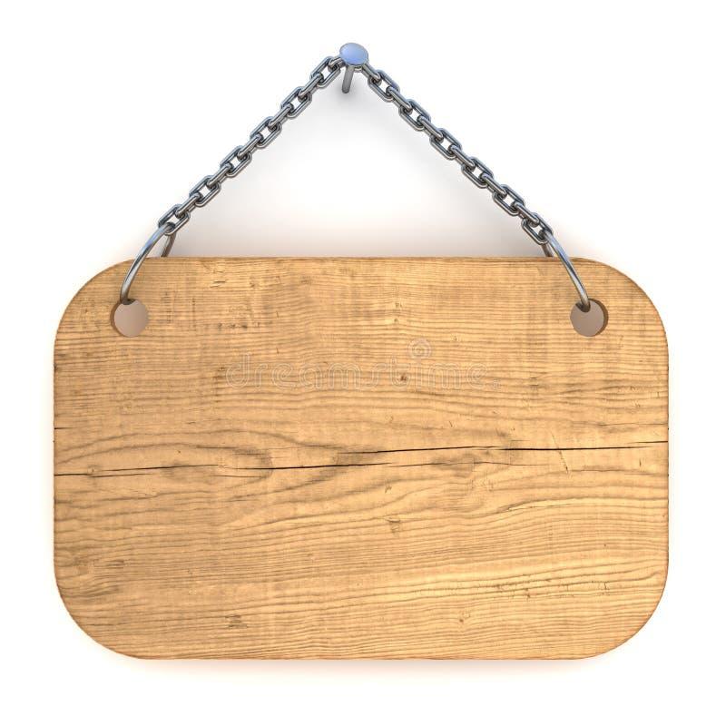Segno di legno in bianco illustrazione di stock