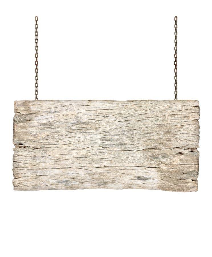 Segno di legno che appende su una catena isolata su bianco fotografia stock