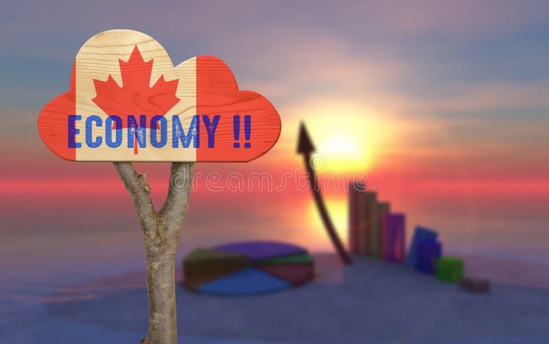 segno di legno che indica l'economia fotografia stock