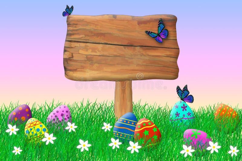 Segno di legno circondato dalle uova di Pasqua fotografia stock libera da diritti