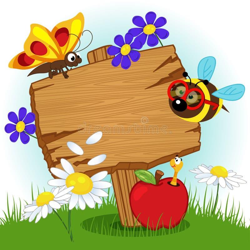 Segno di legno con i fiori e gli insetti illustrazione di stock