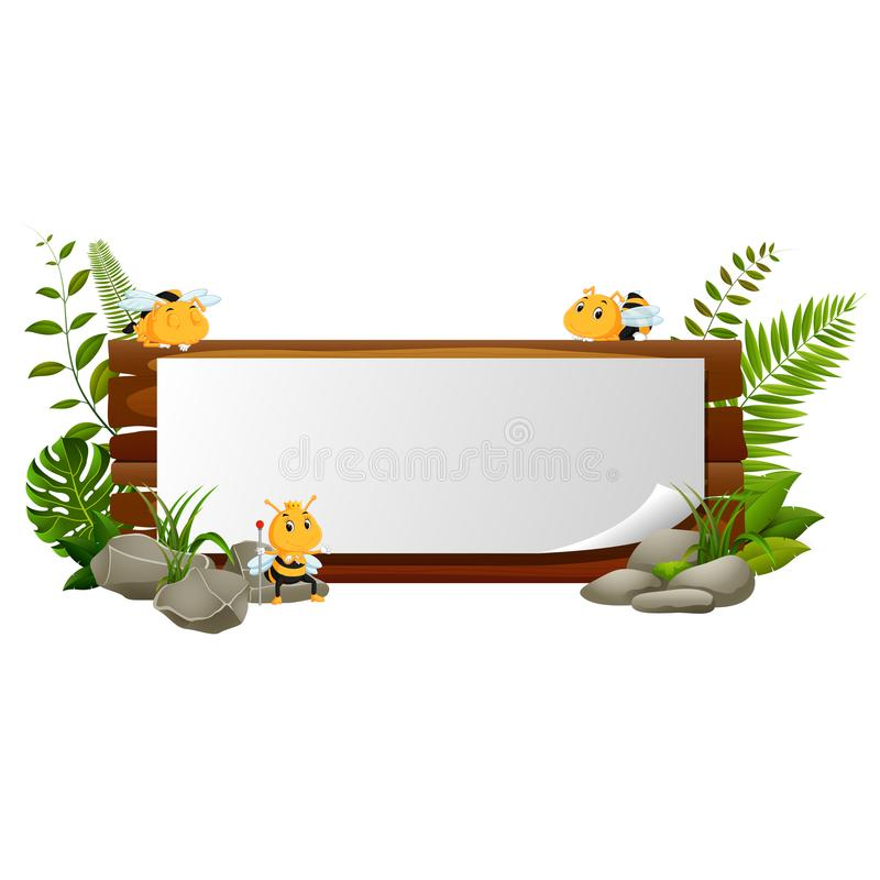 Segno di legno con i molti ape illustrazione di stock
