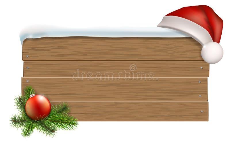 Segno di legno con il cappello del ` s di Santa royalty illustrazione gratis