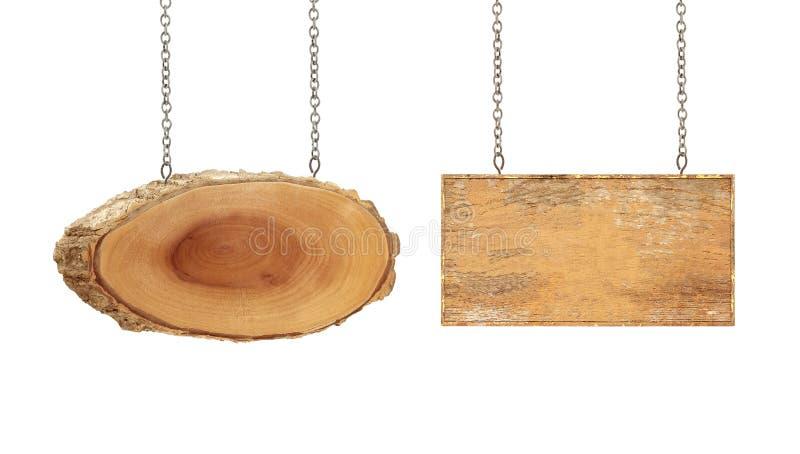 Segno di legno con la catena su bianco immagini stock libere da diritti