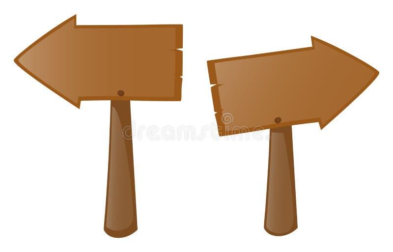 Segno di legno due destro e sinistro royalty illustrazione gratis