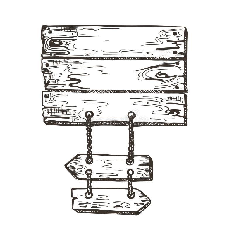 Segno di legno grafici di schizzo Fondo del sentiero costiero Immagine di vettore illustrazione di stock