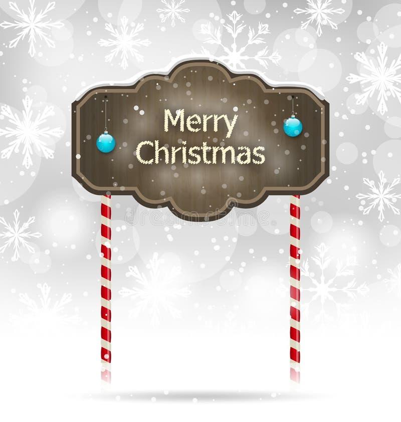 Segno di legno innevato, fondo di Buon Natale royalty illustrazione gratis