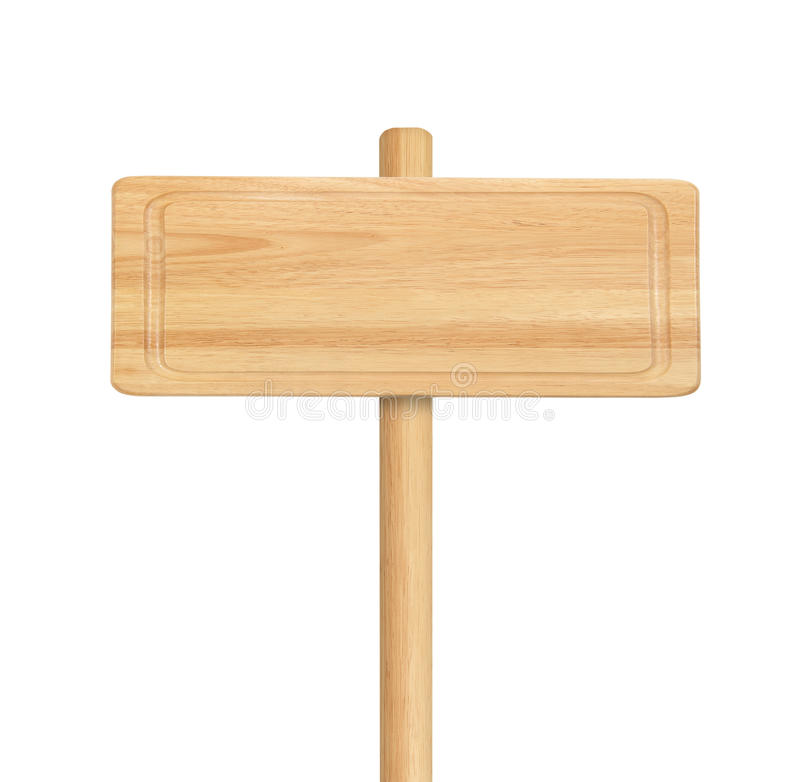 Segno di legno isolato su fondo bianco immagine stock libera da diritti