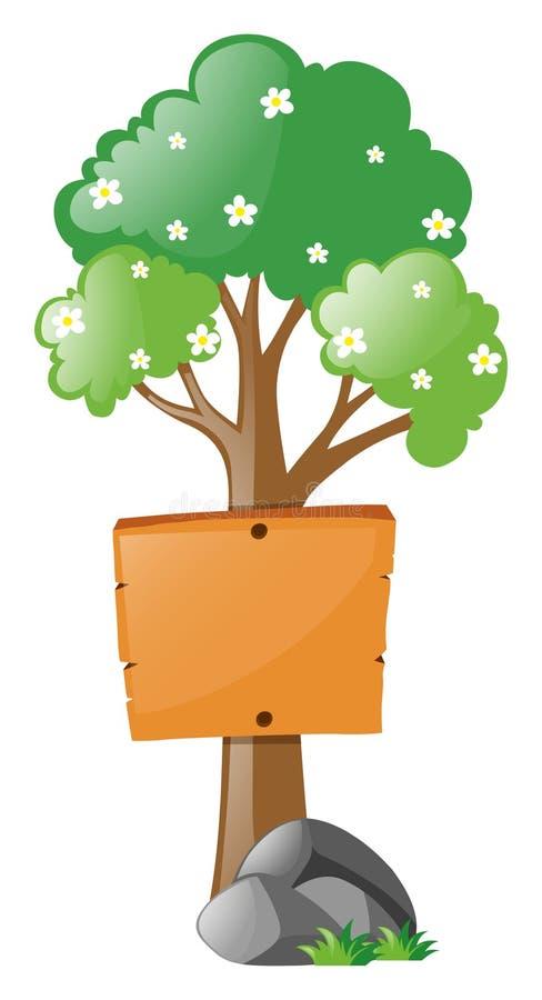 Segno di legno sul piccolo albero illustrazione di stock