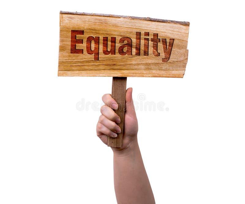 Segno di legno di uguaglianza immagine stock libera da diritti
