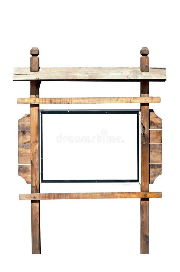 Segno di legno vuoto del tabellone per le affissioni isolato su bianco fotografia stock libera da diritti