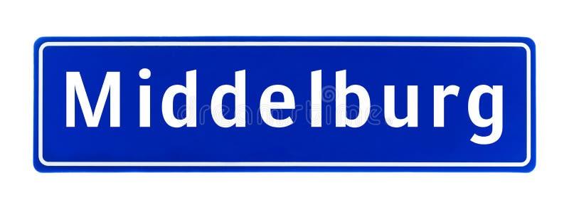 Segno di limite di città di Middelburg, Paesi Bassi immagini stock libere da diritti