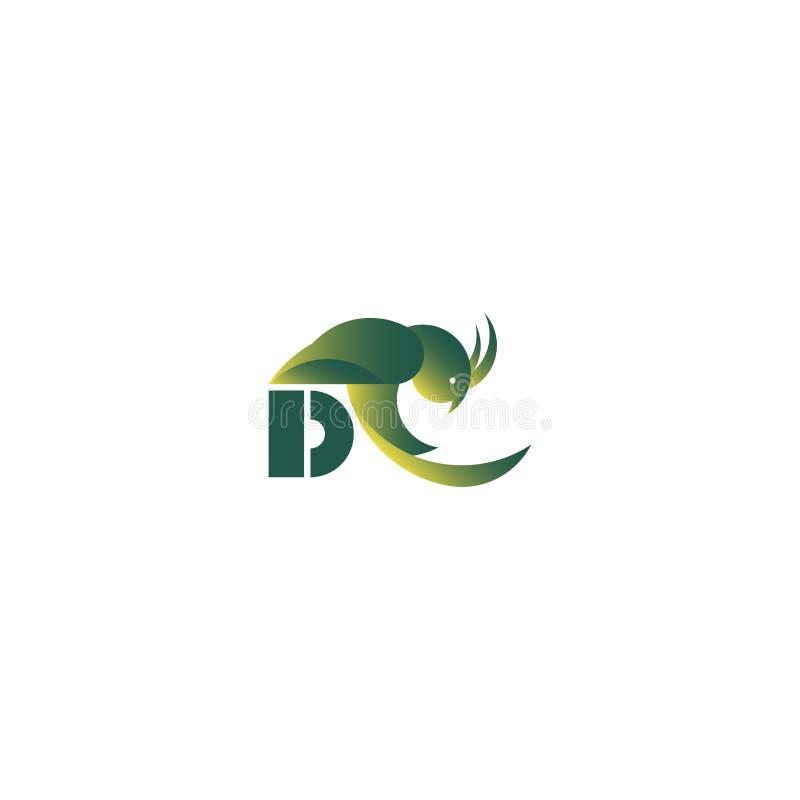 Segno di logo con il pappagallo e la lettera royalty illustrazione gratis
