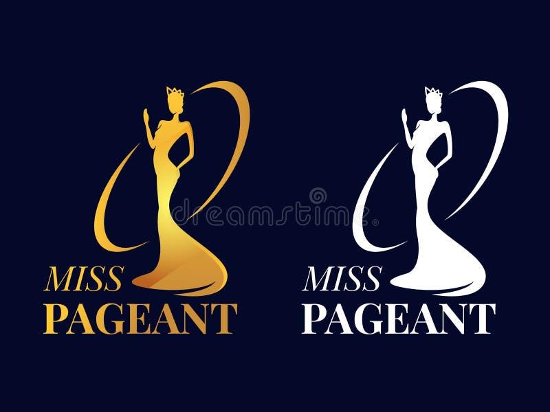 Segno di logo di spettacolo di sig.na con il miss indossare un oro della mano di moto e della corona e progettazione bianca di ve illustrazione vettoriale