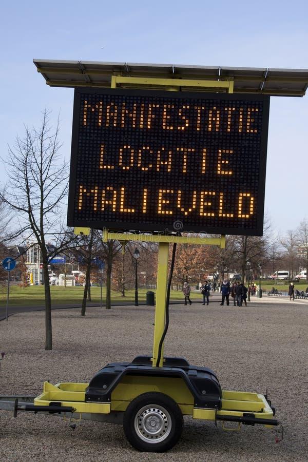 Segno di manifestazione su Malieveld a L'aia fotografie stock
