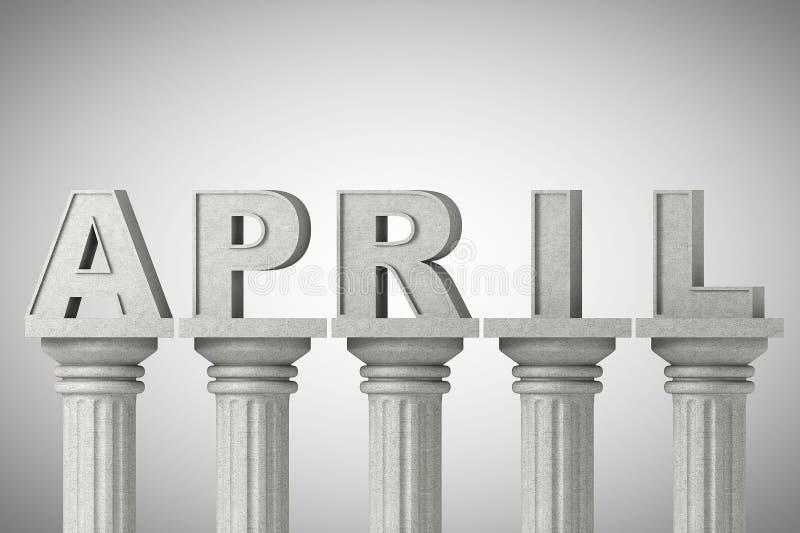 Segno di mese di aprile sull'colonne classiche royalty illustrazione gratis
