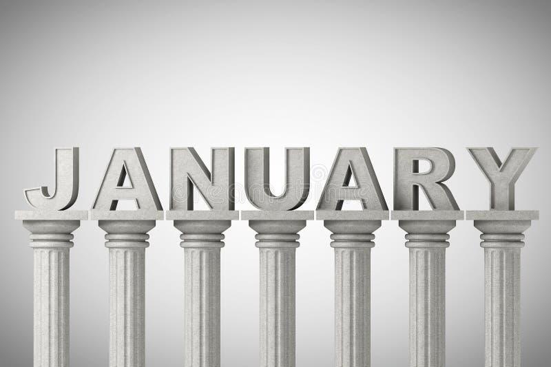 Segno di mese di gennaio sull'colonne classiche illustrazione vettoriale