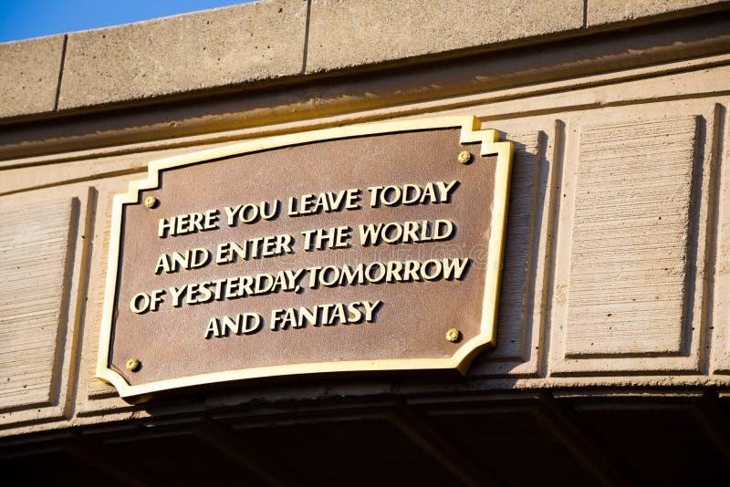 Segno di motto di Disneyland fotografia stock libera da diritti