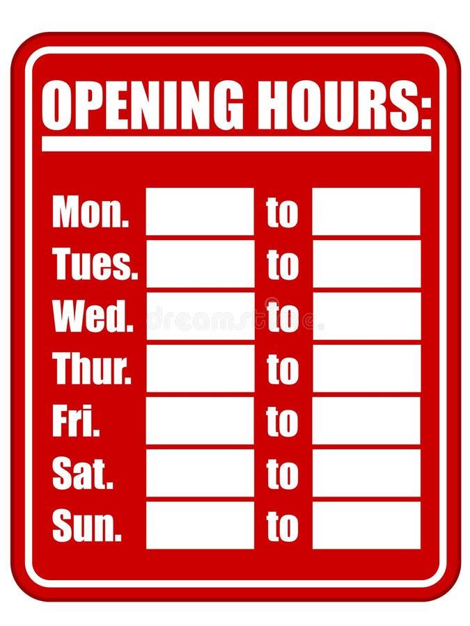 Segno di ore di apertura