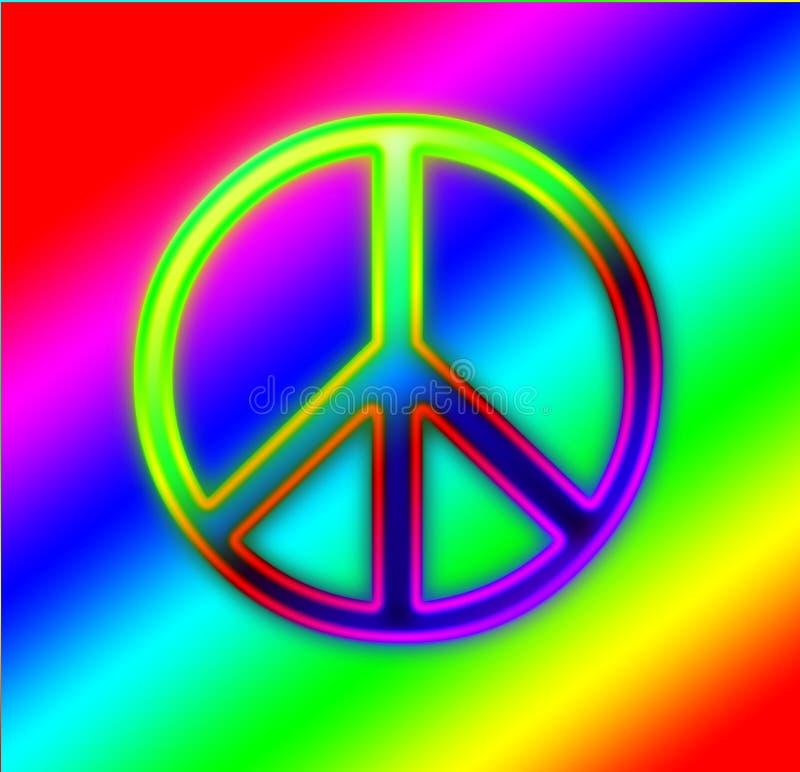 Segno di pace al neon dell'arcobaleno illustrazione vettoriale