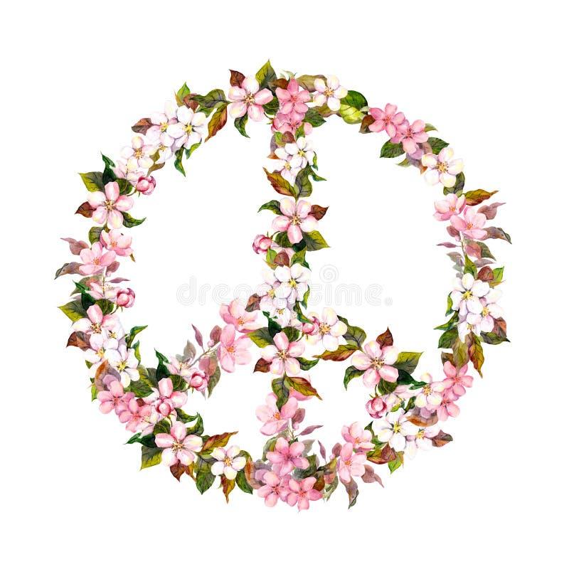 Segno di pace, fiori rosa - fiore di ciliegia, sakura watercolor illustrazione di stock
