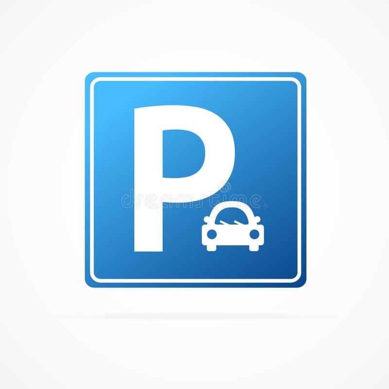 Segno di parcheggio blu dettagliato realistico 3d con l'automobile Vettore royalty illustrazione gratis