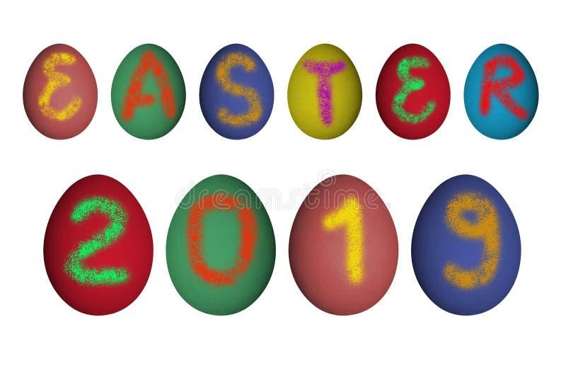 Segno di Pasqua 2019 sulle uova reali illustrazione vettoriale