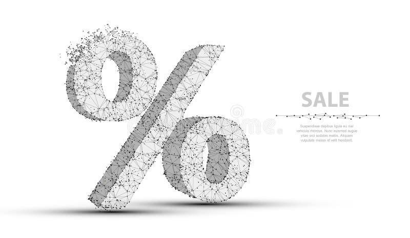Segno di percentuali Poli maglia bassa del wireframe Illustrazione o fondo di concetto illustrazione vettoriale