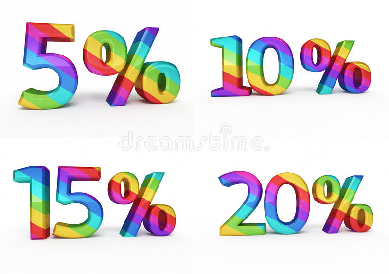 Segno di percentuali variopinto royalty illustrazione gratis