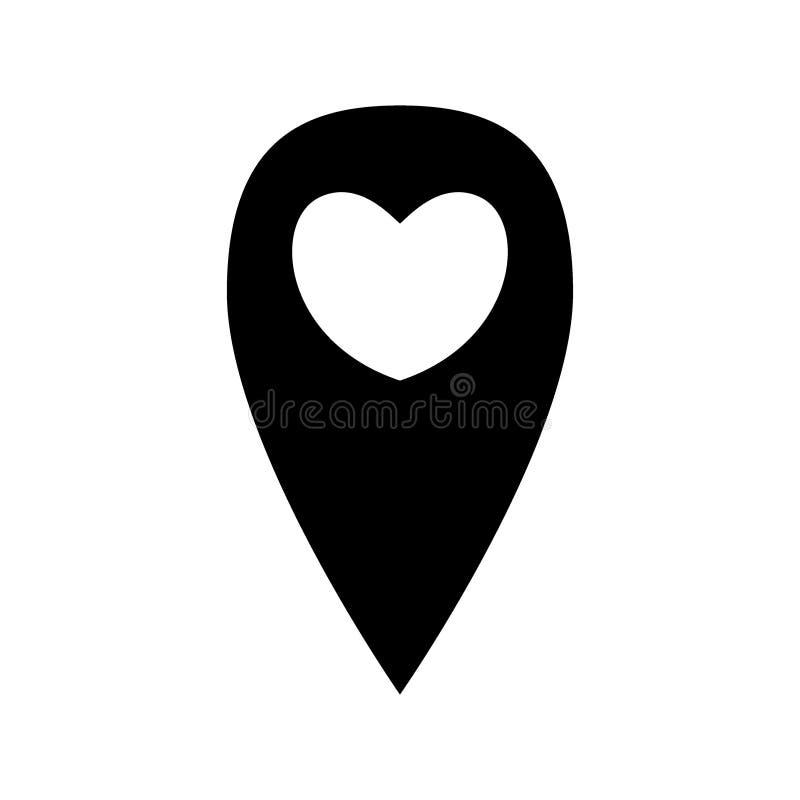 Segno di posizione di Geo con cuore illustrazione vettoriale