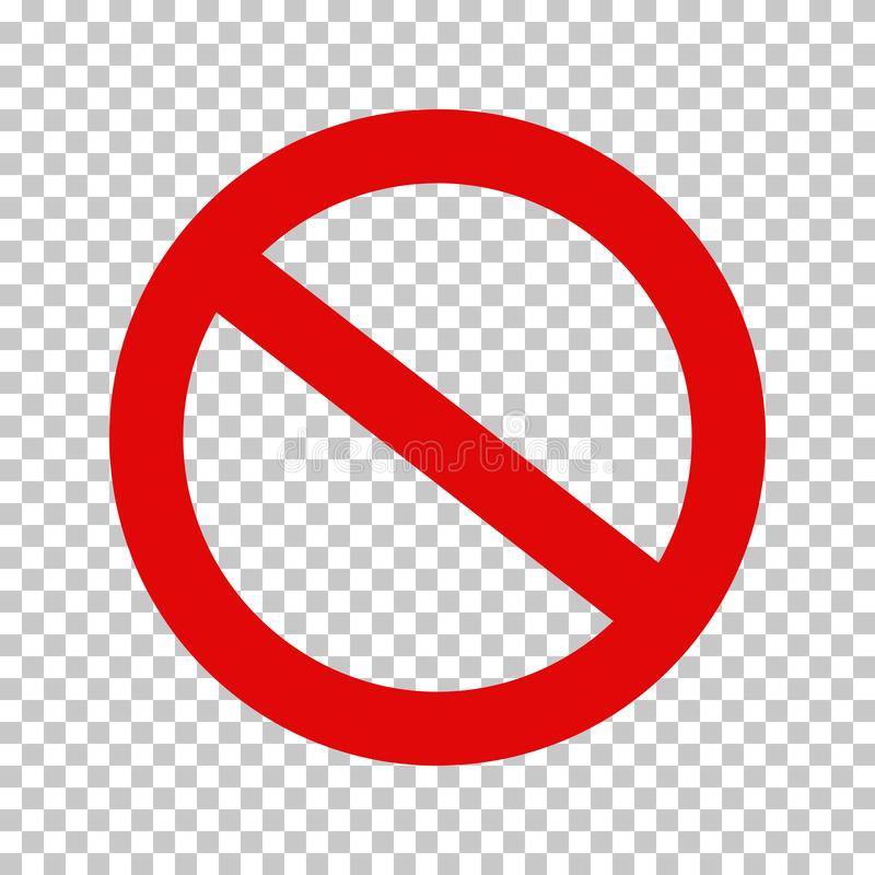Segno di proibizione, nessun simbolo; Cerchio depennato illustrazione di stock