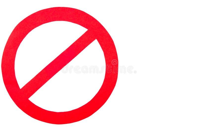 Segno di proibizione su fondo bianco, spazio della copia per testo immagini stock libere da diritti