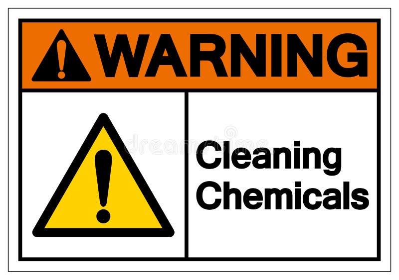 Segno di pulizia d'avvertimento di simbolo di prodotti chimici, illustrazione di vettore, isolato sull'etichetta bianca del fondo fotografie stock libere da diritti