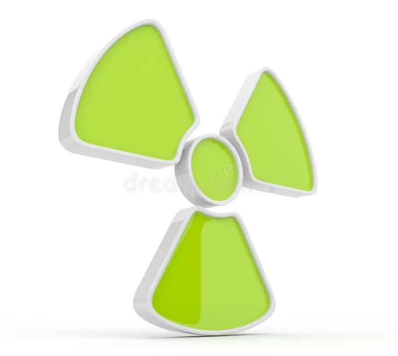 Segno di radiazione. icona 3d, isolata illustrazione di stock