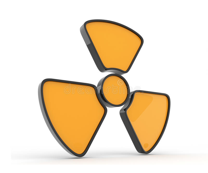 Segno di radiazione. icona 3d, isolata illustrazione vettoriale