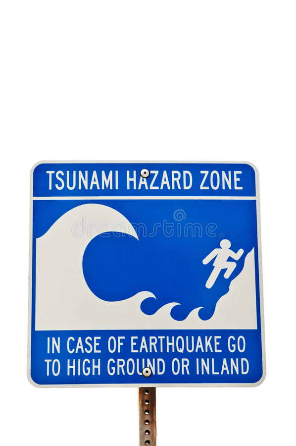 Segno di rischio dei tsunami fotografie stock libere da diritti