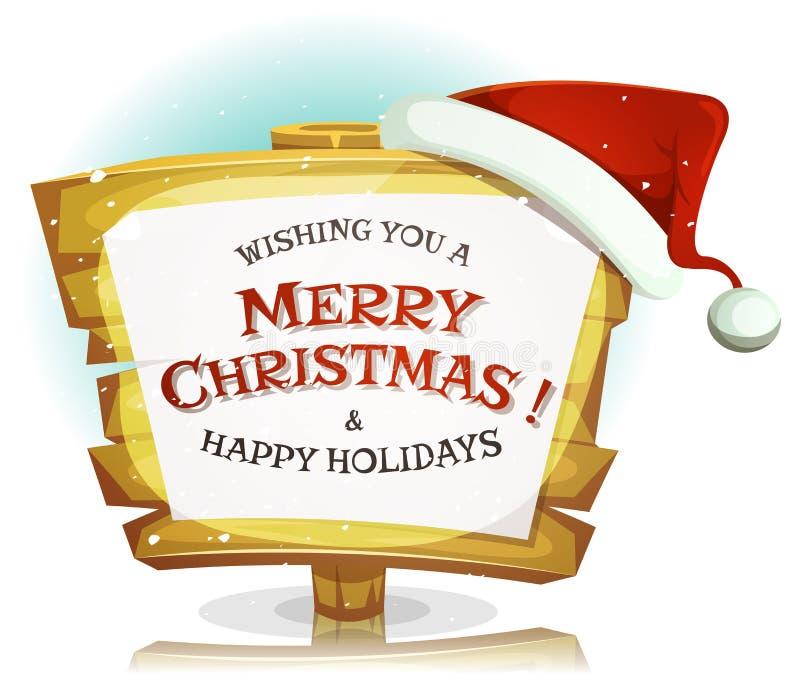 Segno di Santa Claus Hat On Funny Wood illustrazione di stock