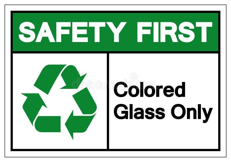 Segno di sicurezza del primo simbolo solo di vetro colorato, Illustrazione vettoriale, Isola su etichetta di sfondo bianco EPS10 illustrazione di stock