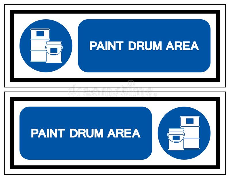 Segno di simbolo di area del tamburo della pittura, illustrazione di vettore, isolata sull'etichetta bianca del fondo EPS10 illustrazione di stock