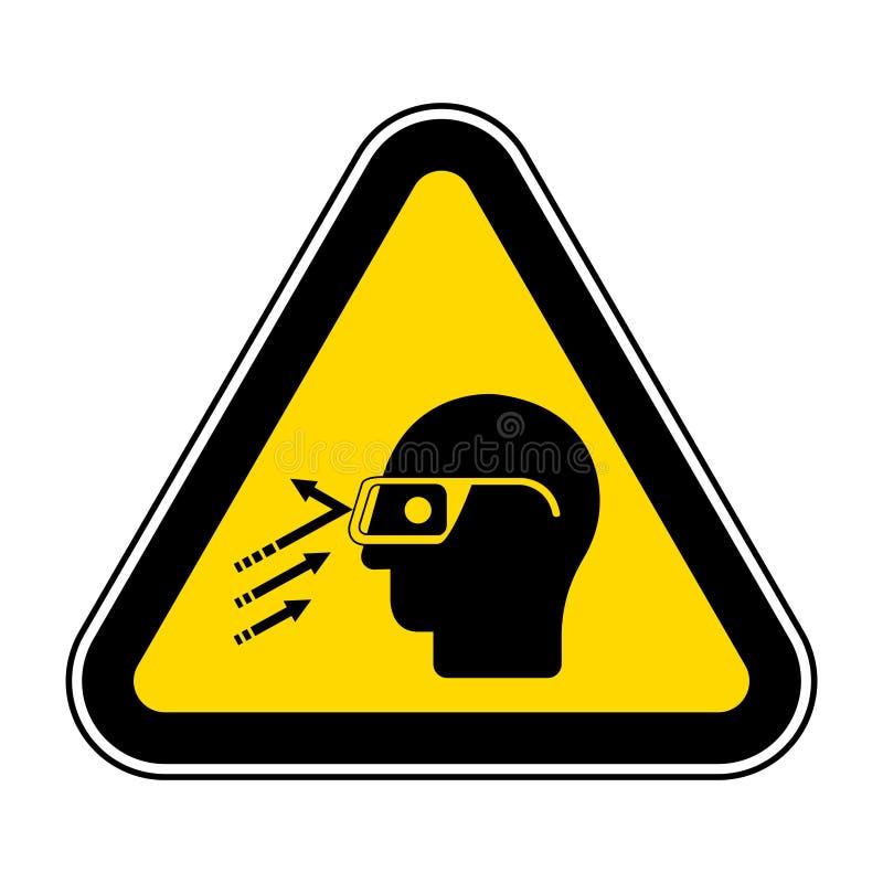 Segno di simbolo degli occhiali di protezione di usura del detrito ricadente, illustrazione di vettore, isolato sull'etichetta bi royalty illustrazione gratis