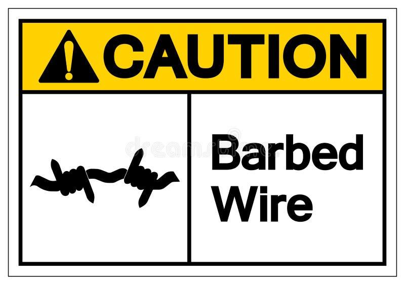 Segno di simbolo del filo spinato di cautela, illustrazione di vettore, isolata sull'etichetta bianca del fondo EPS10 illustrazione vettoriale