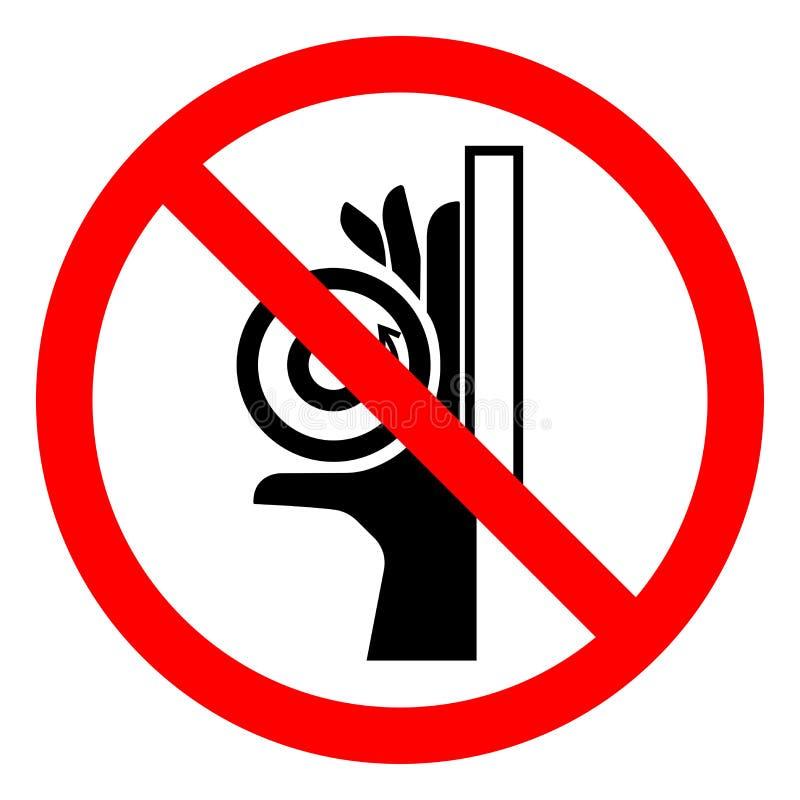 Segno di simbolo del punto a composizione costante del rullo di schiacciamento della mano di rischio di lesione, illustrazione di illustrazione di stock