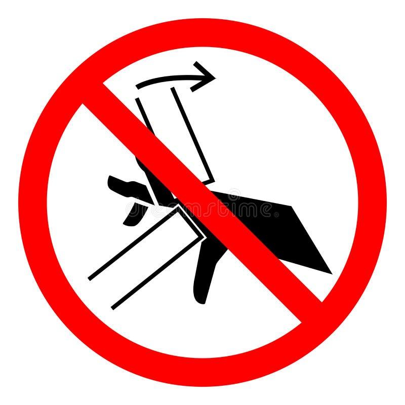 Segno di simbolo del punto a composizione costante di schiacciamento della mano di rischio di lesione, illustrazione di vettore,  royalty illustrazione gratis