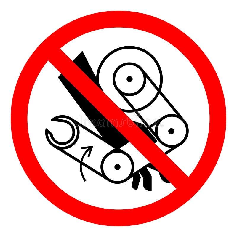 Segno di simbolo del robot di schiacciamento della mano di rischio di lesione, illustrazione di vettore, isolato sull'etichetta b royalty illustrazione gratis