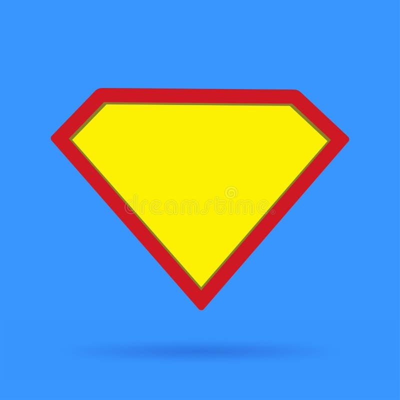 Segno di simbolo dell'icona del supereroe su fondo blu con ombra molle illustrazione di stock
