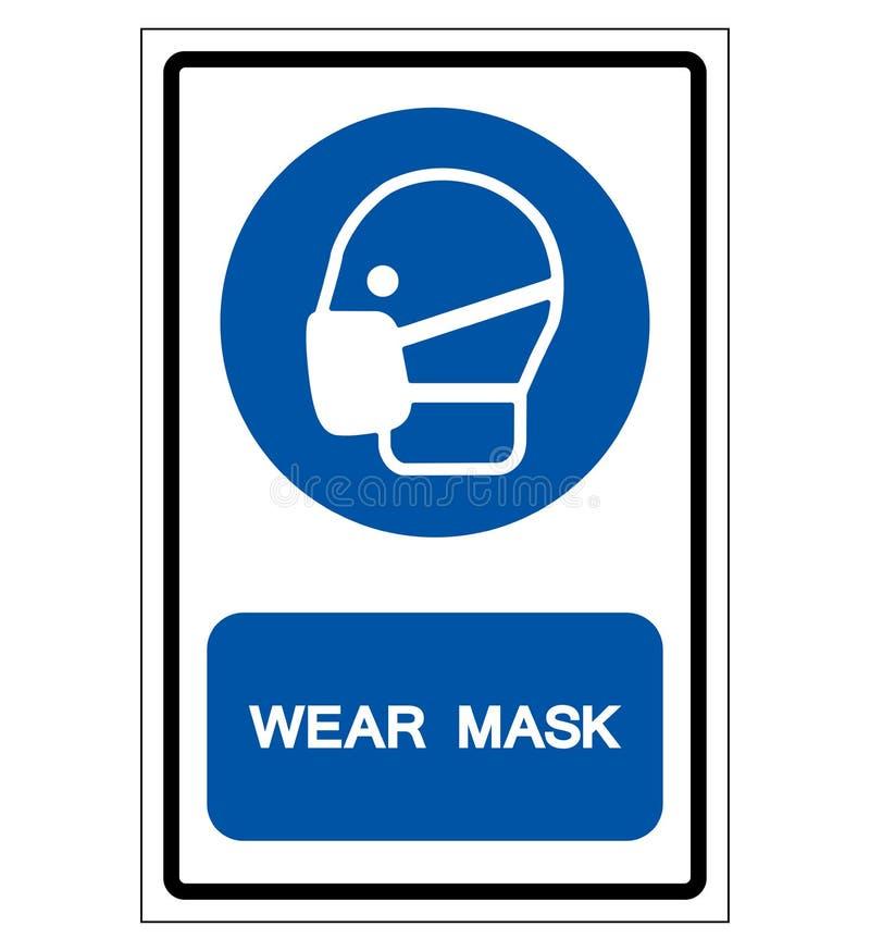 Segno di simbolo della maschera di usura, illustrazione di vettore, isolata sull'etichetta bianca del fondo EPS10 royalty illustrazione gratis