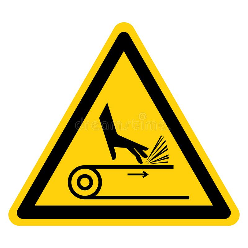Segno di simbolo della trasmissione a cinghia dell'abrasione della mano, illustrazione di vettore, isolato sull'etichetta bianca  illustrazione vettoriale