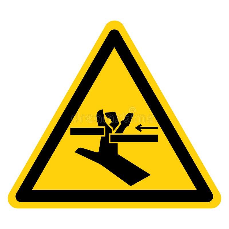 Segno di simbolo delle parti mobili di schiacciamento della mano, illustrazione di vettore, isolato sull'etichetta bianca del fon illustrazione vettoriale